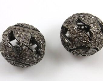 Diamond Pave Round Bead , 1 Piece  15x15mm , Designer Pave Diamond, Pave Diamond Jewelry,  Sterling Silver Pave Bead. (DF/BD36)