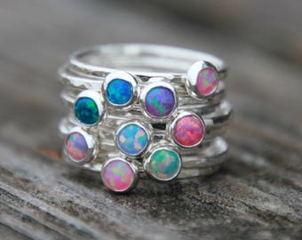 25 DIFFERENT COLORED OPALS! Colorful Opal Ring - Silver Opal Ring -gemstone stacking ring-gemstone rings -opal stacking rings -gemstone Ring