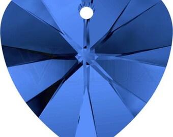Swarovski 6228 XILION Heart Pendant - Sapphire 28 mm
