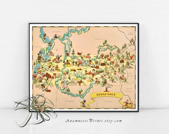 TENNESSEE MAP PRINT - vintage 1930's picture map to frame - Tennessee pictorial map wall decor - gift idea for many occasions - home decor
