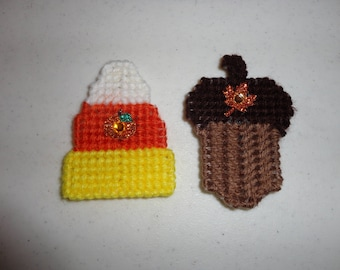 Plastic Canvas Decorative Candy Corn and Acorn Magnets