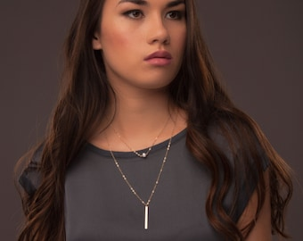 Dainty layered necklace set in Sterling Silver or Gold Filled, Layered Pearl and Bar, Delicate Layered Necklaces, Simple Stacked Necklaces