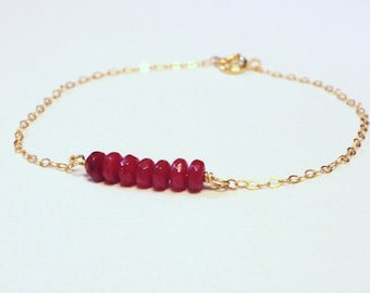Ruby Red Gold Fill Bracelet- Dainty Thin Gold Bracelet- Gold Fill Jewelry- Friendship Bracelet- Garnet Red Gemstone Bracelet