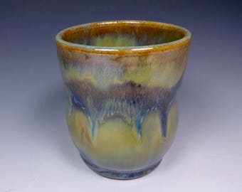 Handmade Pottery Wine Cup Ceramic Stoneware Green and Blue Cascades of Color Glazing