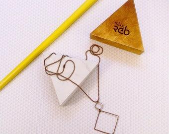 Square geometric necklace and lemon yellow enamel