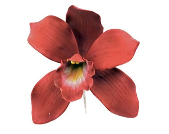Cymbidium Orchid burgundy gumpaste orchid for tropical wedding cake toppers, bridal showers, diy brides, cake decoration