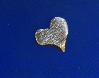 Silver heart pendant, sterling silver heart charm, stylized heart charm, textured heart pendant