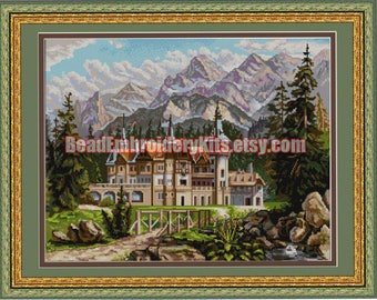 Castle in Mountains DIY bead embroidery kit beaded painting craft set needlework beadwork sewing hobby
