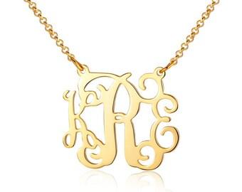 Monogram necklace  - 18k gold plated monogrammed necklace - 3 initial monogram necklace