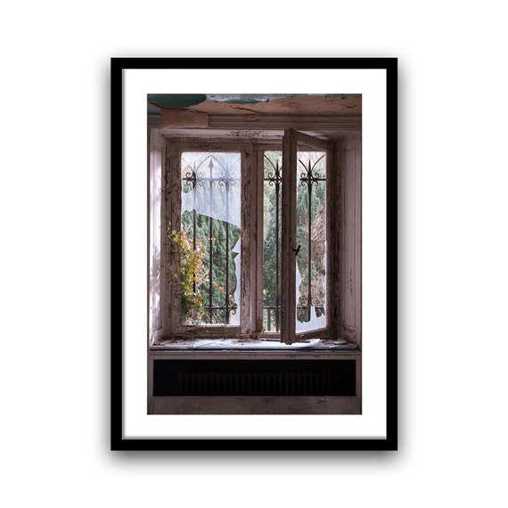 Window photo, fine art photography print, Old window decor, Window art, rustic, Urban decay photography, Home decor, Wall art, brown, giclee