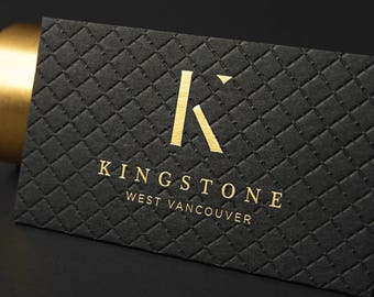 Foil business cards etsy luxury black business card design and print business card with gold foil stamping emboss reheart