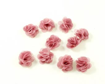 Set of 10 small fabric flowers veil old rose
