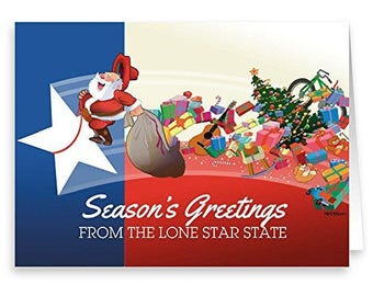 Texas Flag and Santa Christmas Card - 18 Cards/ 19 Envelopes - 40023