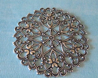NEW Large Silver Filigree  3844