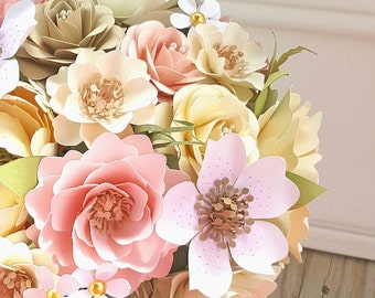 Paper Flower Bouquet - Paper Flowers - Wedding Bouquet - Shabby Chic - Rustic - Customize Your Colors - Made To Order
