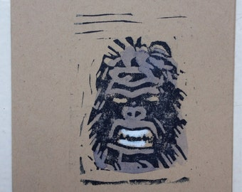 Note card--ape mask