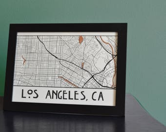 Map of Los Angeles black and white with glitter