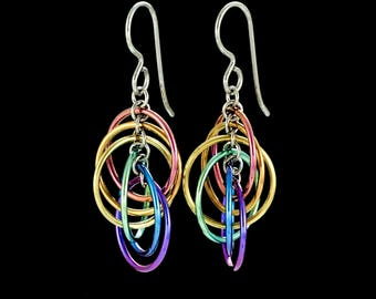 Niobium Rainbow Spiral Hoops Earrings - Lightweight, Colorful and Hypo Allergenic