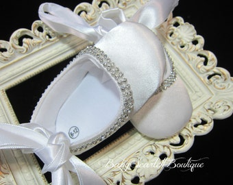 White Satin Baby Girl Soft Sole Shoes,Christening Shoes