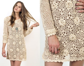 Cream CROCHET Cut Out Knit 80's Sweater Tunic Mini Dress S/M