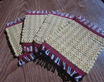 mug rug set, yellow handwoven rag rug coaster set