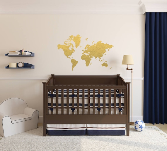Gold world map wall decal gold office decor bedroom wall like this item gumiabroncs Image collections