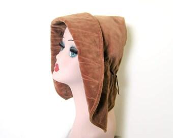 Vintage 1930s/40's Brown Velvet Drooped Brim  Capeline Style Hat w/Peaked Crown~ Saks Fifth Ave