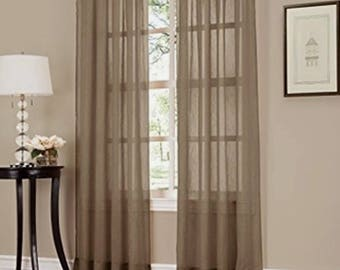 """6-Piece Taupe Sheer Voile Window Curtain Panels 55""""W X 84""""L Each Panel"""