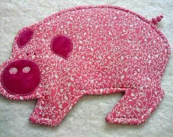 Pig Mug Rug - Choose Color - Mug Rug - Coaster