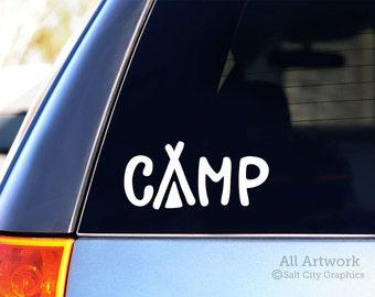 Camp Decal - Tent Camping Vinyl Sticker, Car Window Vinyl Decal, Vehicle or RV Decal, Laptop Sticker, Window or Bumper Sticker