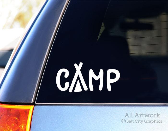Camp Decal Tent Camping Vinyl Sticker Car Window Vinyl