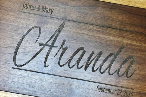 Personalized Wooden Cutting Board Engraved with Name and Date in Walnut, Maple, Cherry and White Oak. Wedding Gift-Anniversary Gift