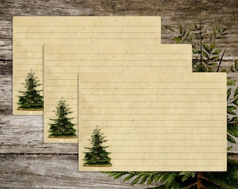 Handmade Vintage Style Old Fashioned Antique Pine Tree Recipe Cards from Curious London