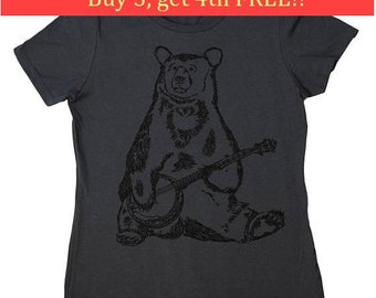 Ladies Tee Shirts - Regular Fit Tee - Banjo Bear Tshirt - Banjo TShirt - Funny Womens Tees - Ladies Tshirt - Musician Tee - Charcoal Tee