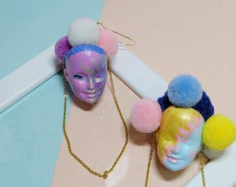 Barbie head pompom Earrings /handprint/upcycled jewelry/hippie/Clown/Circus/halloween/weirdstyle/remade/mixed art/weird earrings