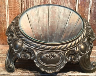 Salvage vintage french style metal lamp base with mirror, lamp supplies, vintage mirrored tray, lighting supplies repurposed metal pedestal