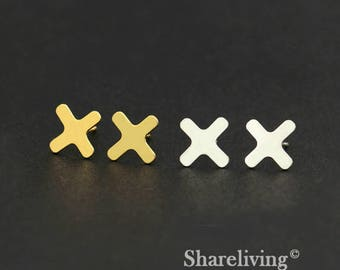 4pcs (2 Pairs) Silver, Golden Cross  Stud Earring, Nickel Free, High Quality Brass Earring Post - ED404