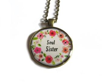 SOUL SISTER NECKLACE - Best friends necklace - Best friend gift - Best friend pendant - Sister necklace