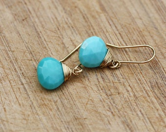 Natural Arizona Sleeping Beauty Turquoise Earrings Solid 18k Gold , December Birthstone , Wedding , Bridal , 11th Anniversary , OOAK