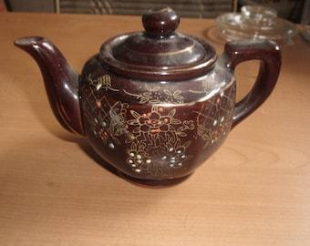 vintage tea coffee pot individual brown embossed flowers japan
