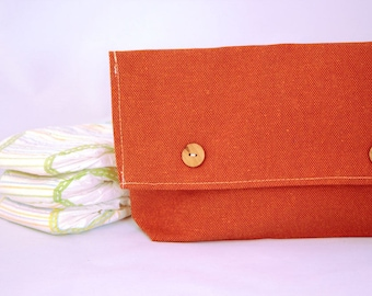 Diaper Bag Girl, Diaper Bag Organizer, Diaper Holder, Diaper Clutch Orange With Buttons, Best Baby Shower Gifts, Baby Shower Presents