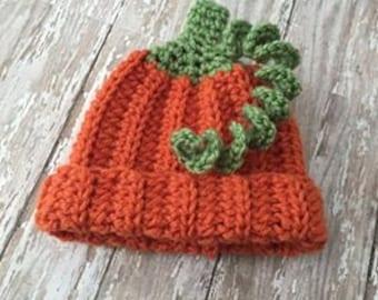 Crochet Pumpkin Hat - Halloween Photography Prop - Newborn Photo Prop - Baby Halloween Photo Prop - Baby Pumpkin Hat - Ready to Ship