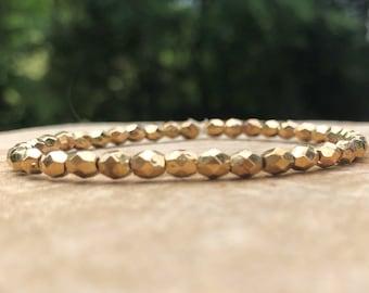 Beaded Bracelet / Gold Accent Bracelet