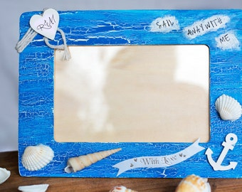 Wooden romantic frame, Blue nautical wooden frame, Personalised frame, Photo frame with heart, Wooden sea frame