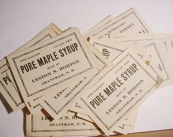 TEN Original Vintage Mid 1900s Maple Syrup Labels NeverUsed Grantham New Hampshire