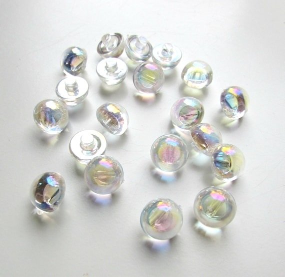 10 Transparent shank sewing buttons 1 cm. Translucent iridescent shank buttons. UK Seller