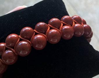 Rust Red Jasper gemstone bracelet (8mm, double-row, adjustable)