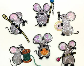 6 PC Shiny Sequin Mouse Silver Iron On Patch Applique SS04118