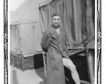 "Vintage Snapshot ""Get A Leg Up"" WWII Serviceman Shows A Little Leg Found Vernacular Photo"