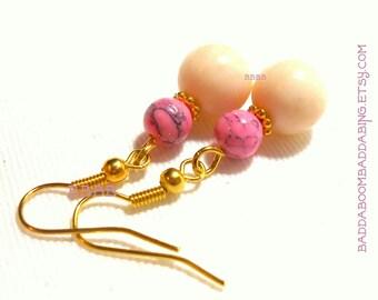 Pink Dangle Earrings - BBBBGiftsCom Surgical Steel French Hook Option Drop Earrings